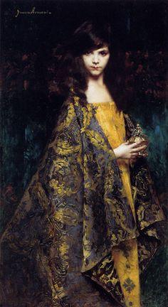 """welovepaintings: Juana Romani (1869-1924)Portait De Jeune FilleOil on panel189161 x 131 cm(24.02"""" x 4' 3.57"""")Public collection"""