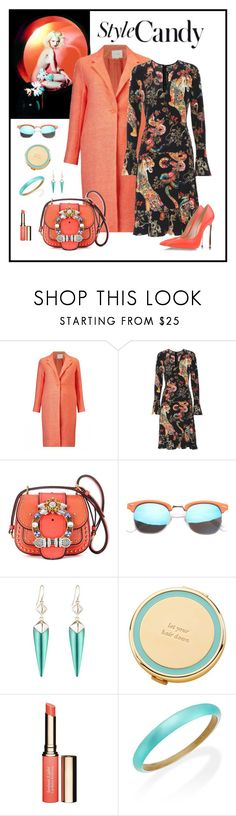 """Etro Floral &Tiger Print Silk Dress Look"" by romaboots-1 ❤ liked on Polyvore featuring Yves Saint Laurent, Maje, Etro, Miu Miu, SW Global, Alexis Bittar, Kate Spade and Clarins"