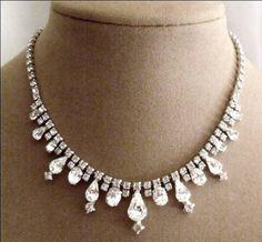 Kramer Rhinestones Necklace Vintage Designer Signed Jewelry