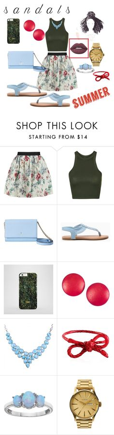 """""""summer's knocking!"""" by didimarley on Polyvore featuring Raoul, Topshop, Kate Spade, Charles Jourdan, Areaware, Pure Luxuries, Nixon, Lime Crime and summersandals"""