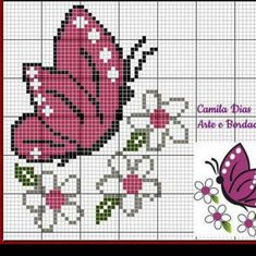 Cross Stitch Cow, Butterfly Cross Stitch, Cross Stitch Animals, Cross Stitch Charts, Cross Stitch Designs, Cross Stitch Patterns, Loom Patterns, Crochet Blanket Patterns, Hand Embroidery Stitches