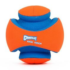 Chuckit! Kick Fetch   -   The Chuckit! Kick Fetch Ball features deep ridges which make it easier for your dog to retrieve. The durable canvas, rubber and EVA foam construction make it the perfect dog ball for outside games of fetch and interactive fun with your dog.  Unique grooved design allows your dog to easily pick up and bring it right back to you.  The vibrant, high-visibility orange color makes this toy easy to track in large open spaces or in water.