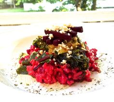 Beetroot Risotto with Pesto, Orange, and Beetgreens (GF)   Assaggiare