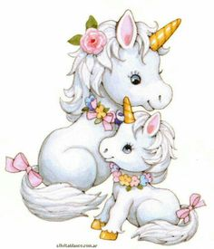 Artwork of mommy unicorn and baby unicorn: great for gift card or decal or picture art. How cute is this?!