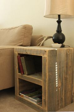 Reclaimed Wood Side Table/ Night Stand by AtlasWoodCo on Etsy, $285.00