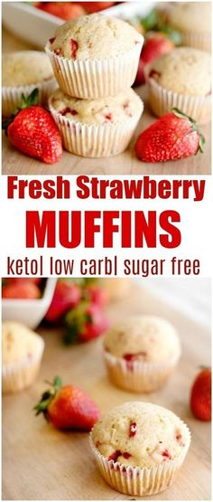 keto strawberry muffins These are AWESOME. Very moist and used up some of my strawberries. I used Truvia baking mix and only made 6 giant muffins. I used silicone ramekins. Mm.