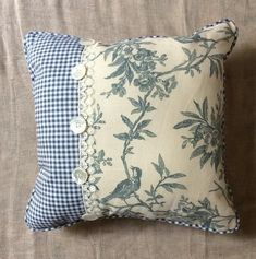 Shabby Chic pillow, Bird Toile Linen fabric pillow with Blue check and Vintage Buttons – 2019 - Quilt Decor Sewing Pillows, Diy Pillows, Decorative Pillows, Throw Pillows, Vintage Shabby Chic, Shabby Chic Homes, Shabby Chic Decor, Vintage Lace, Vintage Sewing