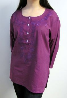 If you are looking for Women's Cotton Tunic Tops L to on sale made from soft light Indian cotton that is airy, cool and casual chic this purple India cotton tunic top is beautiful and affordable. Indian Tops, Cotton Tunic Tops, Beach Tunic, Tunic Designs, Summer Tunics, Ladies Dress Design, Women's Leggings, Looking For Women, Casual Chic