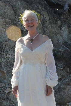 Handmade Vow Renewal Wedding Dress.  Nuno Felted with silk/cotton voile, merino wool and family heirloom laces and trims.