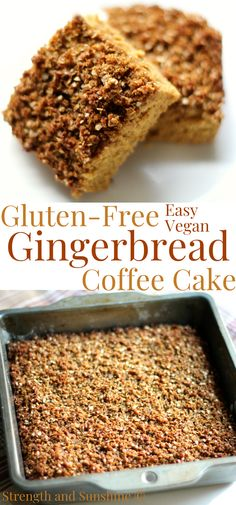 Have a cozy Christmas morning breakfast with a moist, warm slice of this Gluten-Free Gingerbread Coffee Cake! This easy holiday breakfast is vegan, allergy-free, and packed with classic old-fashioned flavor! Have a slice for brunch or dessert too! With a toasty cinnamon ginger-spiced streusel and tender crumb, this healthy cake will get everyone in a jolly mood! #coffeecake #gingerbread #gingerbreadcake #christmas #christmeasbreakfast