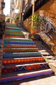befairbefunky: Funky street art ~ colorfull public stairs By DIHZAHYNERS in Beirut, Lebanon. Photo by Nadim Kamel Stair Art, Street Art Utopia, Street Graffiti, Stairway To Heaven, Public Art, Public Spaces, Urban Art, Photo Art, Photos