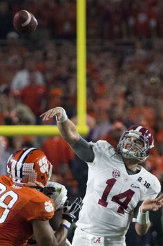 Alabama quarterback Jake Coker passes the ball during Alabama's College Football Playoff National Championship football game with Clemson, Monday, Jan. at University of Phoenix Stadium in Glendale, Ariz. College Football Championship, Alabama College Football, Championship Game, National Championship, University Of Phoenix Stadium, Nick Saban, Alabama Crimson Tide, Roll Tide, Kittens Cutest