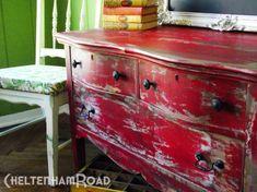 rustic red dresser makeover