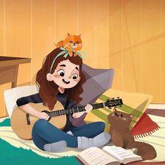Cartoon Art Styles, Cartoon Drawings, Cute Drawings, Cute Illustration, Character Illustration, Art Illustrations, Mode Poster, Character Drawing, Anime Art Girl