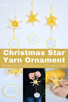DIY Christmas Star Ornament craft for kids to use in different Christmas lessons for Sunday School lessons, Bible crafts, and Christmas parties for kids from preschool, kindergarten, first grade, 2nd grade, 3rd grade, and 4th grade.