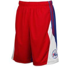 adidas Philadelphia 76ers 3 Stripe Shorts - Red/Royal Blue