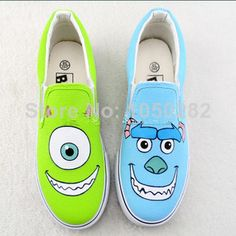 2014 Monster University Canvas shoes free shipping hand painted canvas shoes sport leisure shoes  $1346,34