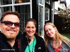 """Eddie Izzard's, photo,""""Liverpool, with Jen & Sarah from my tour, saw Paul McCa…"""""""