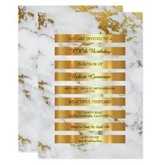 Minimal Luxury Gold Stripes Black White Marble Vip 13 Cm X 18 Cm Invitation Card
