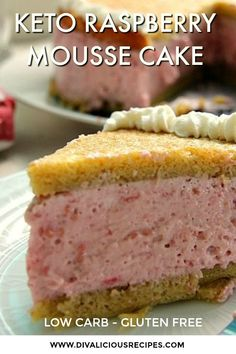 A raspberry mousse cake that is surrounded by a light ginger sponge cake. A light yet filling dessert that is low carb and gluten free.