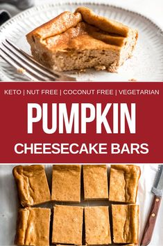 These pumpkin cheesecake bars taste just like pumpkin cheesecake! And they're keto, low carb, nut-free and primal. These keto pumpkin chesesecake bars are the perfect low carb fall dessert. Baking recipes for kids Keto Desserts, Fall Desserts, Keto Snacks, Pumpkin Cheesecake Bars, Low Carb Cheesecake, Pumpkin Bars, Cheesecake Brownies, Cheesecake Bites, Cheesecake Recipes
