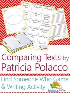 """Patricia Polacco Author Study activities: """"Find Someone Who Has Read"""" game and compare contrast writing activity about Patricia Polacco's books! Fun opening or closing activity for an author study-- aligned to Common Core! TONS of other author studies in this store! #Teachering"""