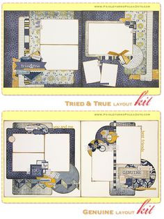 Tried & True/Genuine two 2-page layouts kit $28.50 (Authentique) Scrapbook Kits Paisleysandpolkadots.com Monthly Project Kit Club