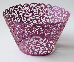 12 pcs Purple Classic Lace Cupcake Wrappers