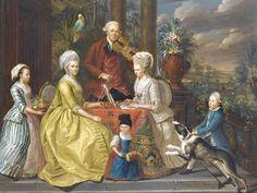 Louis François Gerard van der Puyl (1750 - 1824) - Portrait of the van Assche family seated in a loggia, 1776