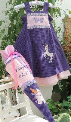 FELIZ Einschulungskleid Einhorn lila/rosa, bestickt mit Schmetterling und Einhorn, Stickdatei von Zwergenschön
