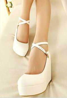 Strappy White Wedge Shoes With Heart Charm