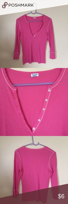 Splendid Pink Waffle Henley Super soft cotton Henley from Splendid in a bright pink color with white stitching. Mother of pearl buttons. 3/4 length sleeves. Size medium, but fits more like a S. Splendid Tops Tees - Long Sleeve