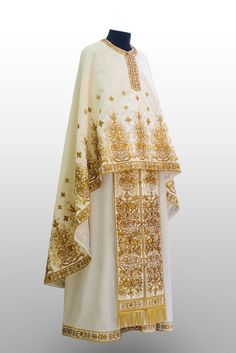 The KERKYRA set of vestments features rich gold and silver stylised floral embroidery, reflecting the vegetation of the uniquely beautiful island of Kerkyra (Corfu), whose inhabitants have held steadfastly to the faith of their Patron and protector, the Church Attire, Gold Embroidery, Pixies, Ready To Wear, Kimono Top, Banner, Silk, Drawings, How To Wear