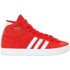 separation shoes 81a66 3e557 ADIDAS ORIGINALS Basket Profi Suede High Top Sneakers - Red ( 66) ❤ liked  on Polyvore featuring shoes and red