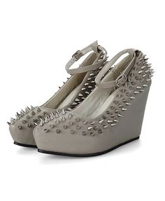 Gray Spiked Chunky Concealed Wedge Heel Shoes with Ankle Strap