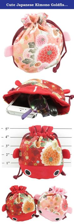 """Cute Japanese Kimono Goldfish Drawstring Purse Pouch Bag 7.5"""" x 6.5"""" Pink Red. These cute Japanese kimono goldfish purses complement any outfit in a fun way. Put your make-up, hair clips or bands, jewelry, money, and more inside. Give them as party favors at your child's birthday celebration!."""