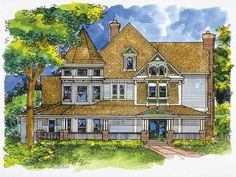 Queen Anne House Plan with 4161 Square Feet and 4 Bedrooms from Dream Home Source | House Plan Code DHSW28446. Number seventeen just might be my favorite
