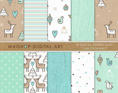 Doodle Digital Paper Mint 'Cute Christmas II' by MaishopDigitalArt
