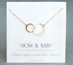 Mom and Baby Necklace - Baby Shower Gift for Mom To Be - Necklace For New Mom - Push Present