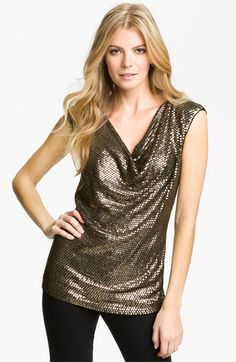 af3a5285171a9 MICHAEL Michael Kors Drape Neck Sequin Top available at  Nordstrom