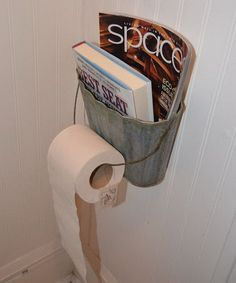 Toilet paper holder is one of the basic necessity of every bathroom. No matter how big or small your bathroom is, you need to have a toilet paper holder that Toilet Paper Holder Stand, Rustic Toilet Paper Holders, Toilet Paper Storage, Rustic Toilets, Galvanized Buckets, Galvanized Decor, Rustic Bathroom Decor, Old Kitchen, Reuse Recycle