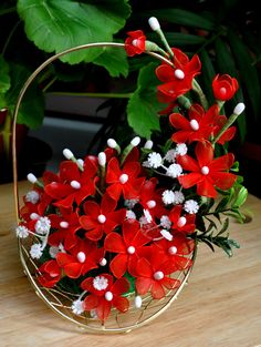 Flower basket, amaryllis flower bouquet, handmade nylon flowers, red flowers…
