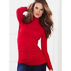 Victoria's Secret Ruched Cotton Turtleneck Sweater ($30) via Polyvore