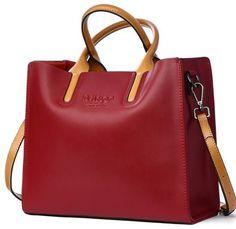 bfdb2672427 Women s Red Bag Handbags Genuine Leather Durable Purse Fashion Red Shoulder  Bags