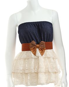 Country western lace and jean dress minus the ugly bow