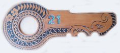 Shaped carving with Island girl designs on a bible verse 21st Birthday Wishes, Maori Patterns, 21st Party, Island Girl, Key Design, Hand Carved, Keys, Piercings, Carving