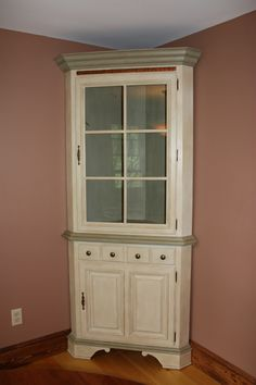 Annie Sloan Chalk Painted Corner Hutch In Old Ochre And A Custom Mix Of  Chateau Gray