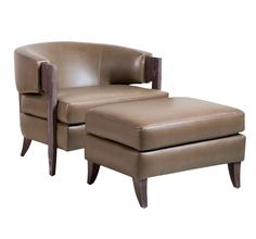 A mink hue and a dark cerused oak frame give the handsome Kelsey Ottoman stylish, timeless appeal. See item # 145055 for matching chair. Stylish Chairs, Modern Chairs, Midcentury Modern, Ottoman Design, Chair Design, Chair And Ottoman, Upholstered Chairs, Recycled Home Decor, Burke Decor