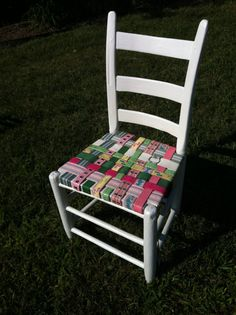 Pink+and+Green+Ladderback+Chair+with+Seat+woven+from+by+BeltArt,+$90.00