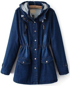 Blue Hooded Long Sleeve Pockets Denim Coat US$58.44